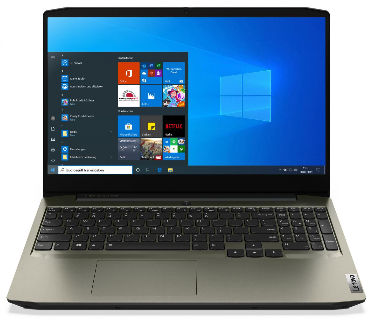 Image du PC portable Lenovo  IdeaPad Creator 5 15IMH05 (82D4004WFR) Vert Kaki - GTX 1650 Ti, 144Hz
