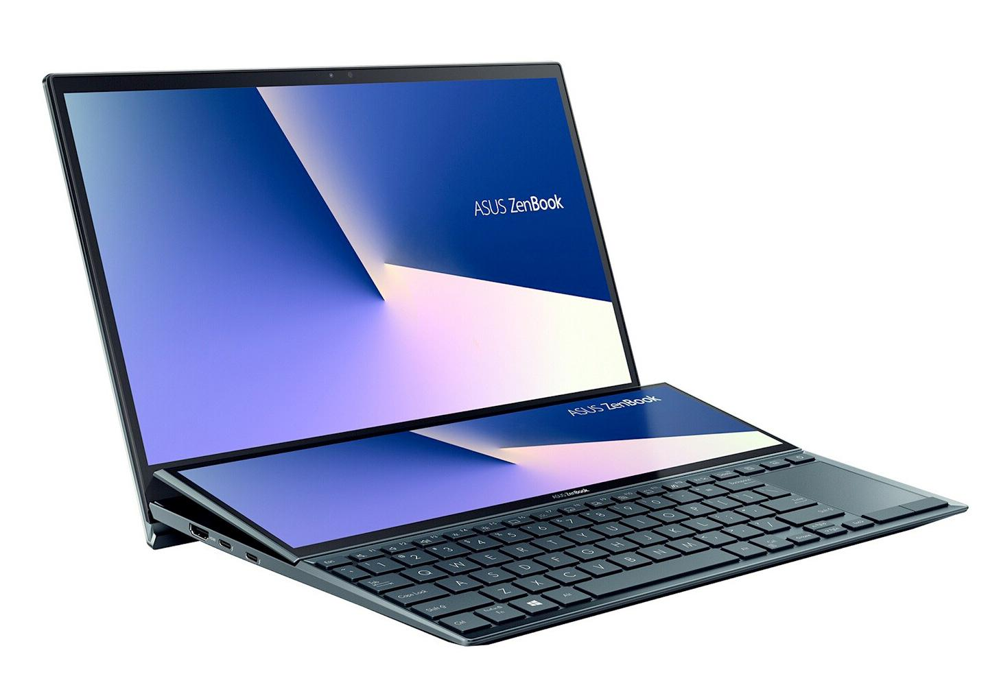 Image du PC portable Asus ZenBook Duo UX482EG-HY142T Bleu/Noir - Tactile, MX450, ScreenPad Plus