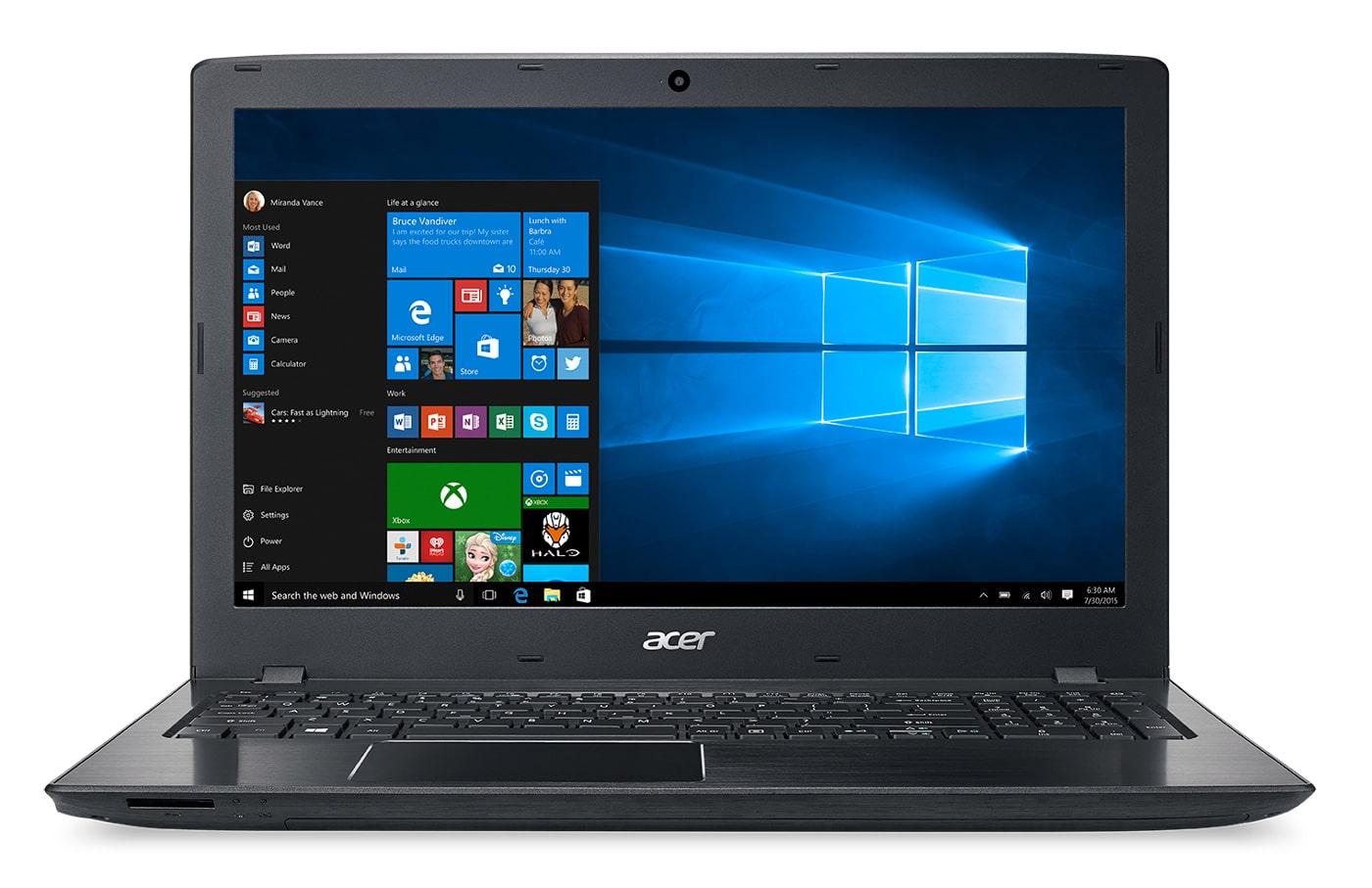 Acer Aspire E5-576-388D à 499€, PC portable 15 pouces 6 Go Core i3 1 To noir