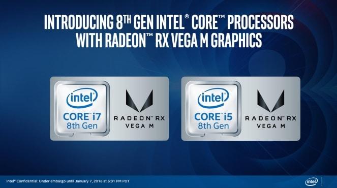 """<span class=""""tagtitre"""">CES 2018 - </span>processeurs Intel Kaby Lake G avec partie graphique Radeon officiels"""