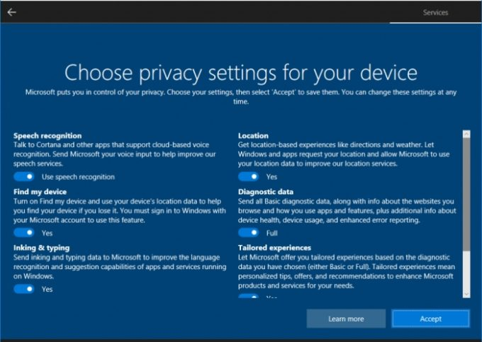 "<span class=""tagtitre"">Windows 10 - </span>les paramètres de confidentialité de Spring Creators Update"