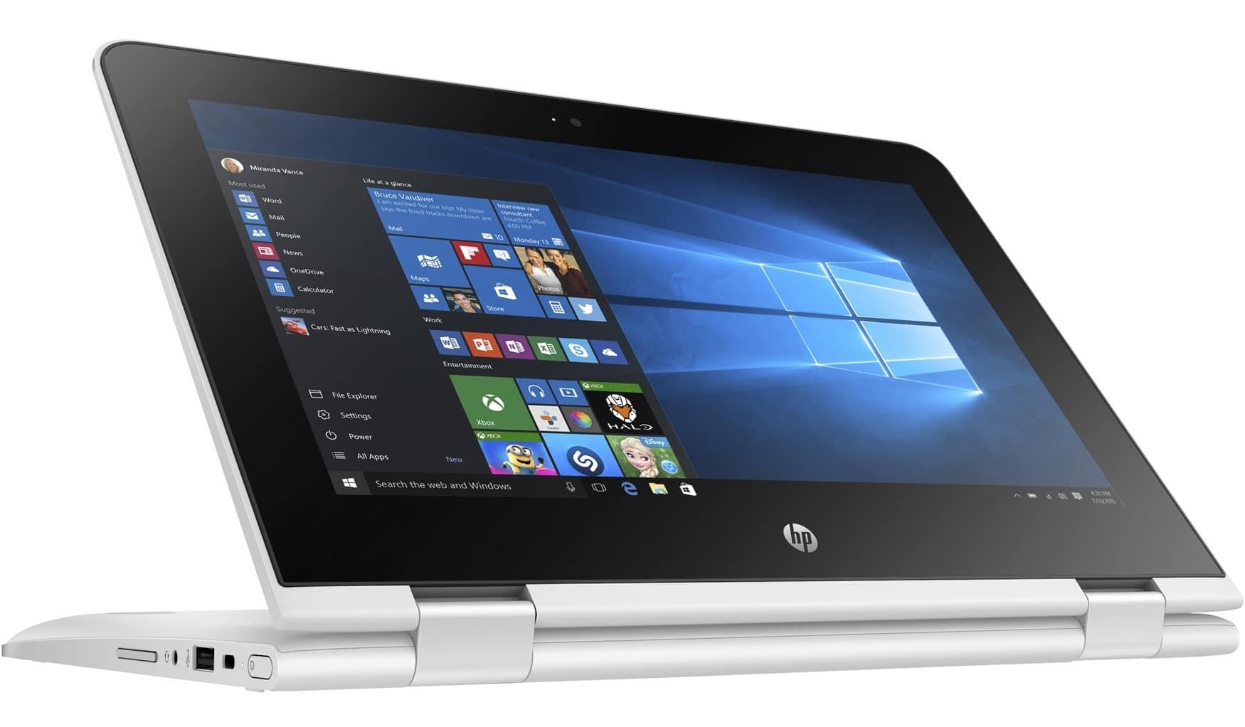 HP x360 11-ab012nf, ultraportable 11 pouces Tablette tactile Blanc IPS à 350€