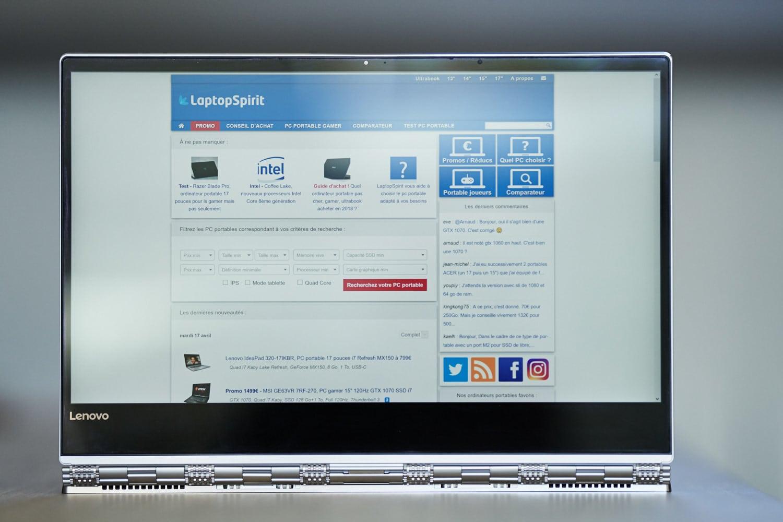 Test Lenovo Yoga 920, écran UHD
