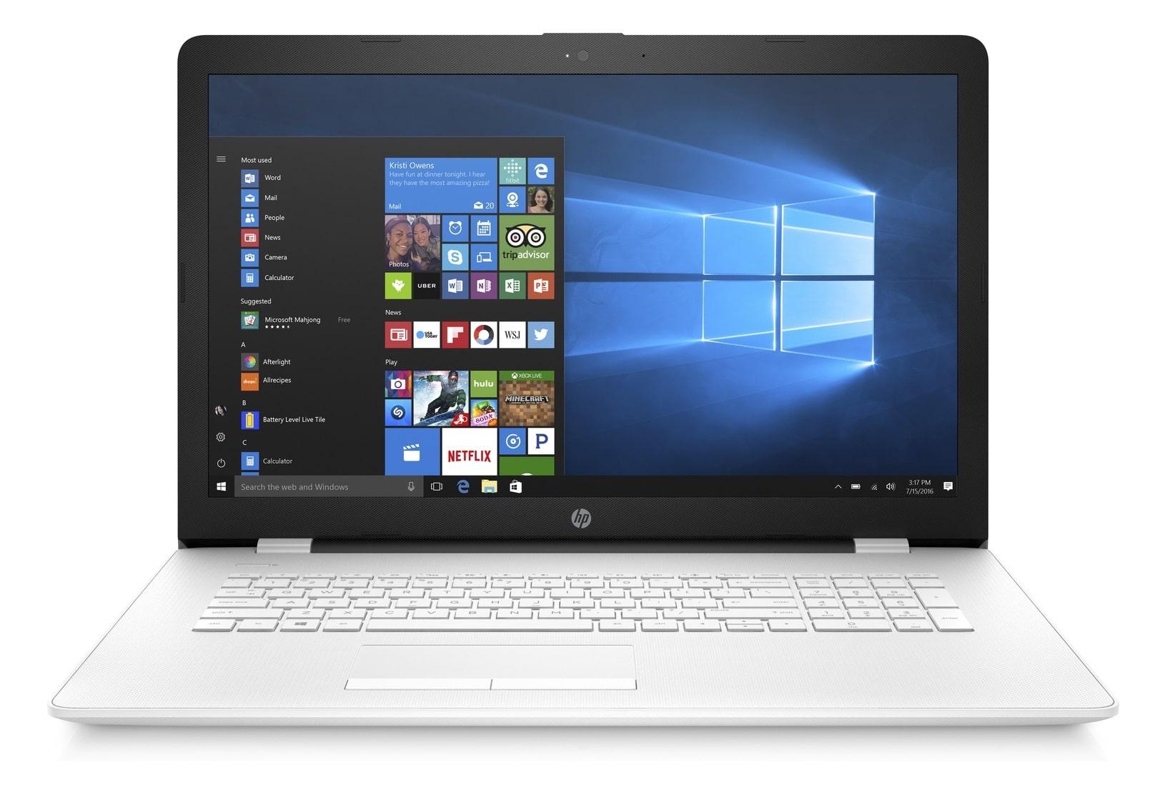 HP 17-bs067nf, PC portable 17 pouces bureautique Blanc SSD 128 Go (312€)