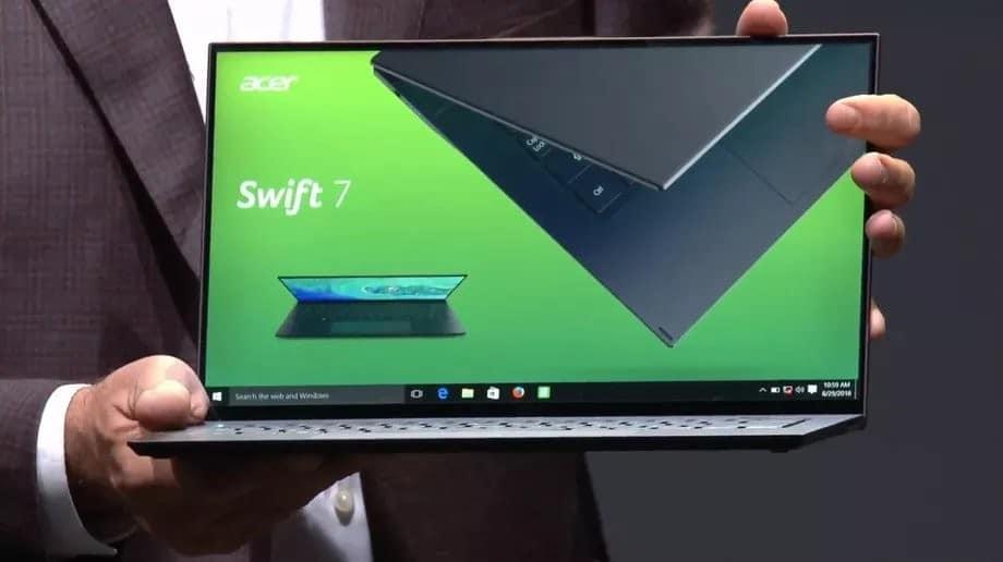 """<span class=""""tagtitre"""">IFA 2018 - </span>Acer Swift 7, un Ultrabook 14"""" de moins de 10mm d'épaisseur"""