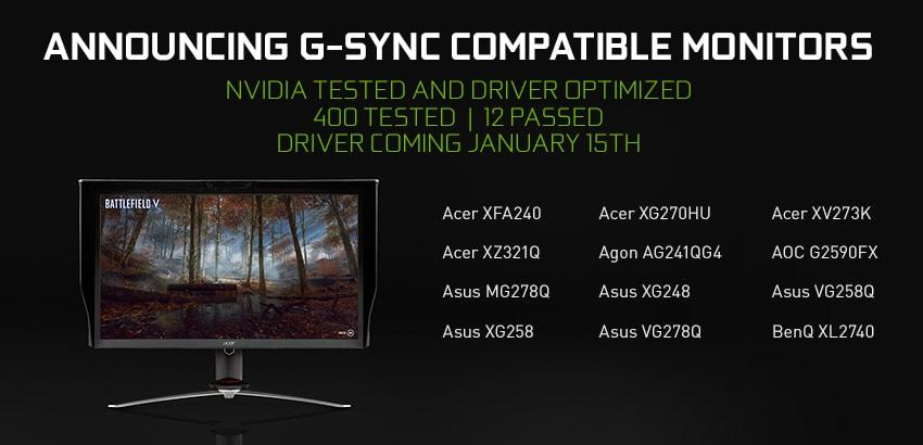 """<span class=""""tagtitre"""">CES 2019 - </span>technologie NVIDIA G-Sync compatible avec écrans FreeSync"""