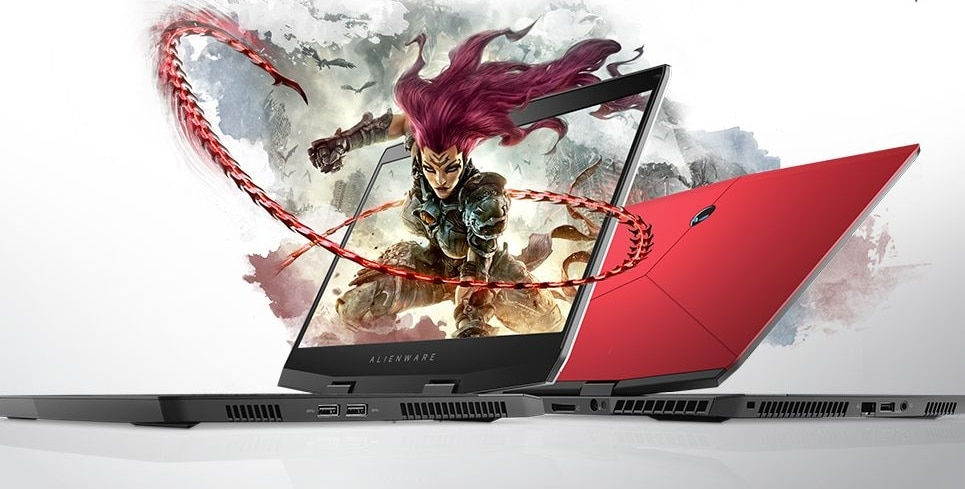 "Alienware m15, PC portable 15"" gamer GeForce RTX 2060 argent / rouge"