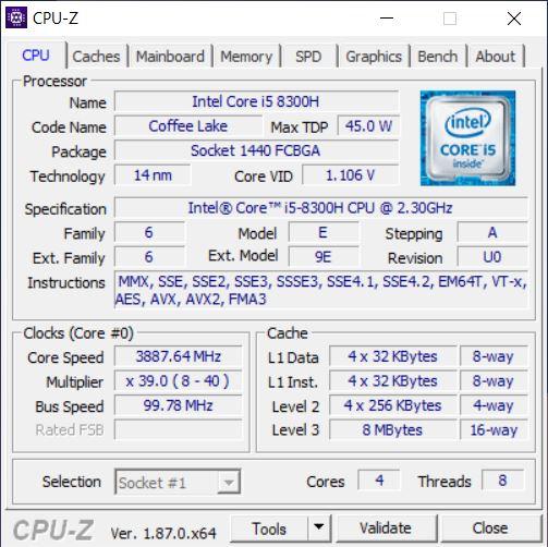 Test Asus ZenBook Pro 15 UX580 Processeur Intel Core i5-8300H