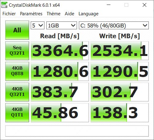 Test Huawei MateBook 13 performances SSD