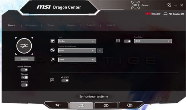Test MSI Prestige P65 Creator MSI Dragon Center
