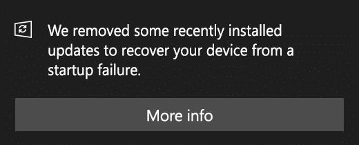 Windows 10 April 2019 Update version 1903 mise à jour désinstallées automatiquement
