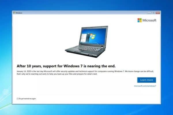 Windows 7 alerte fin support
