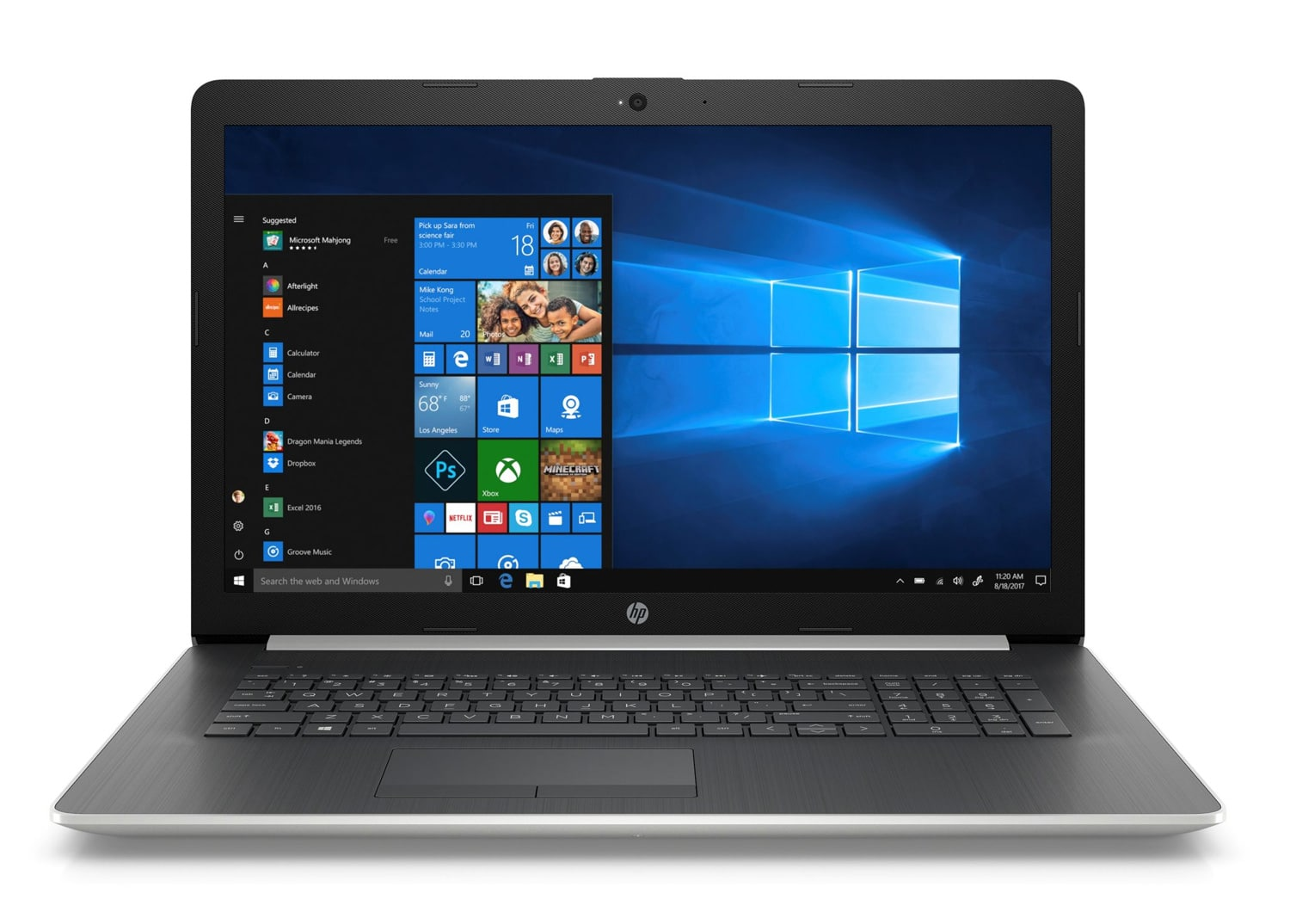 """HP 17-by1007nf, PC portable 17"""" polyvalent argent rapide (799€)"""