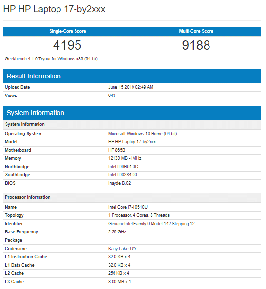 Intel Ice Lake Core i7-10510U Geekbench