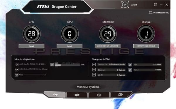 Test MSI PS42 Modern Dragon Center