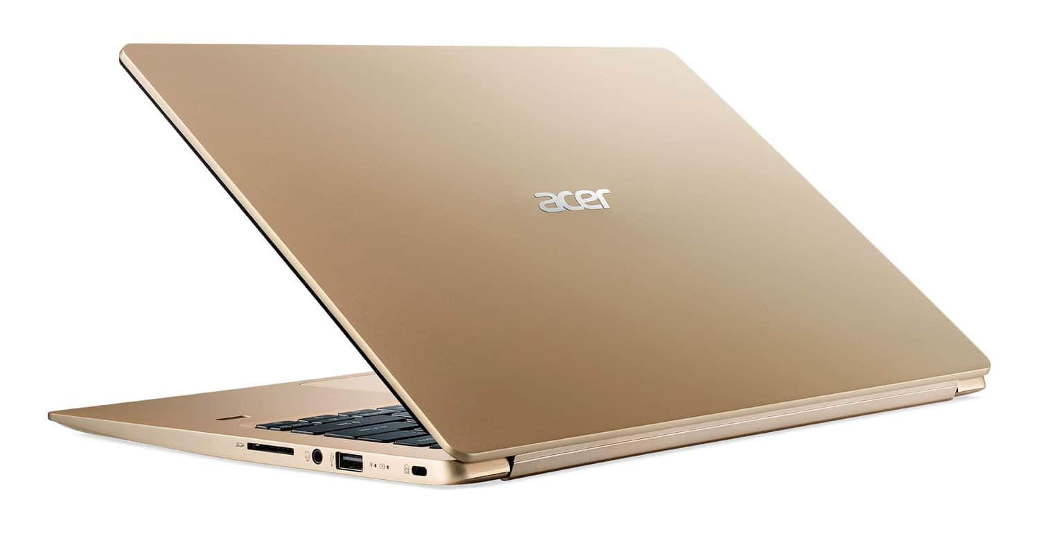 "Acer SF114-32-P282, Ultra 14 "" Or pas cher rapide 11h (369€)"