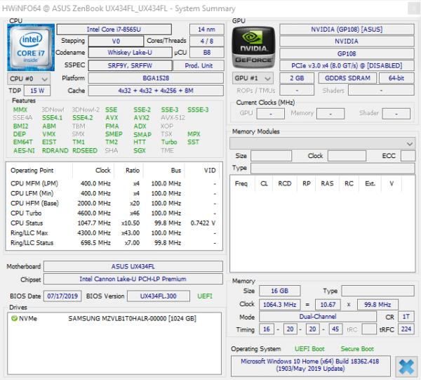 Test processeur Intel Core i7-1065G7 Ice Lake vs Core i7-8565U