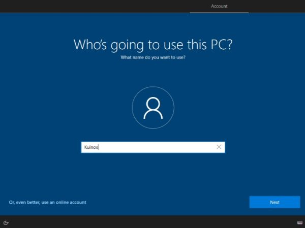 Windows 10 compte local domain join instead