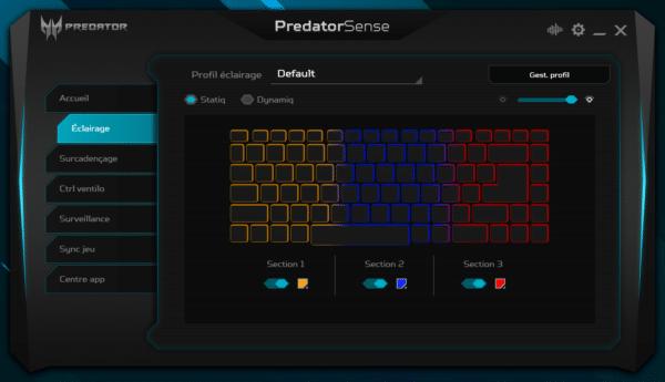 Test Acer Predator Triton 500 PT515-51 Clavier