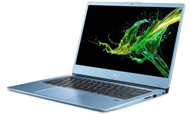 """<span class=""""promo"""">Promo 649€</span> Acer Swift SF314-41-R5AB, ultrabook 14 pouces bleu productif avec souris et housse"""