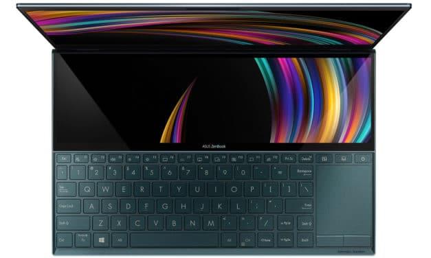 """<span class=""""soldes-best"""">Soldes 990€</span> Asus ZenBook Duo UX481FA-BM013T, ultrabook 2 écrans 14"""" et 12"""" tactile"""