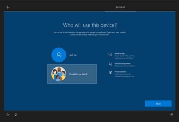 Windows 10 build 19536 famille
