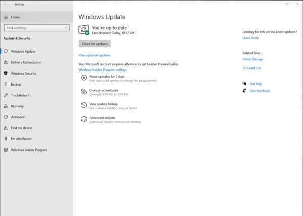 Windows 10 build 19536 pilotes