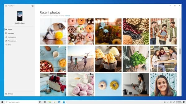 Windows 10 build 19536 votre telephone photos