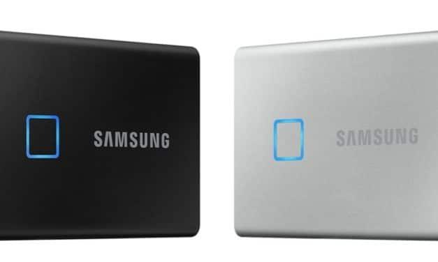 """<span class=""""tagtitre"""">CES 2020 - </span>Samsung Portable SSD T7 (Touch), SSD externe avec lecteur d'empreintes"""