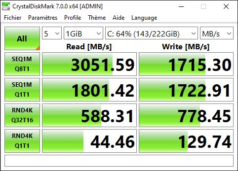 Test Razer Blade 15 Advanced 2019 - SSD