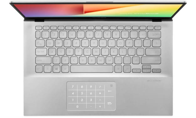 "<span class=""promo"">Promo 658€</span> Asus VivoBook X412FA-EK401T, Ultrabook 14"" argent rapide NumPad fin et léger"