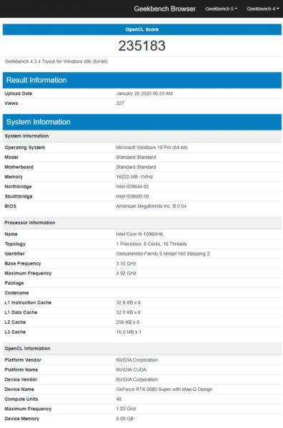 Geekbench Octo Core i9-10980HK GeForce RTX 2080 Super