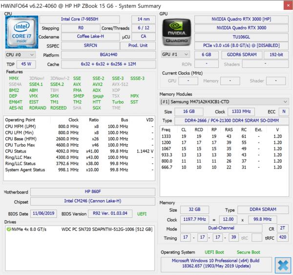 Test HP Zbook G6 15 pouces - Config