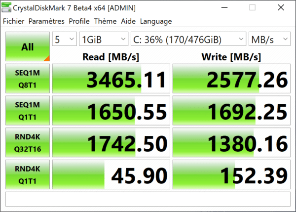 Test HP Zbook G6 15 pouces - SSD