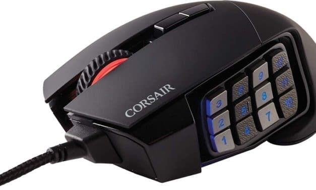 Corsair Scimitar RGB Elite, souris gamer ergonomique filaire précise 17 boutons programmables