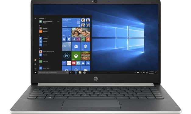 HP 14-dk0025nf, 14 pouces bureautique pas cher IPS et SSD (499€)