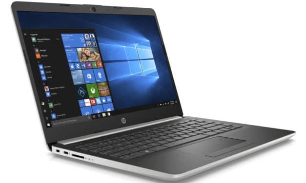"""HP 14-dk0051nf, PC portable 14"""" pas cher argent/noir SSD rapide fin et léger 7h (429€)"""
