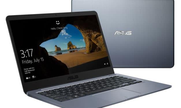 """<span class=""""promo"""">Promo 343€</span> Asus E406MA-EK065T, PC portable 14"""" argent bureautique pas cher fanless fin, léger et rapide"""