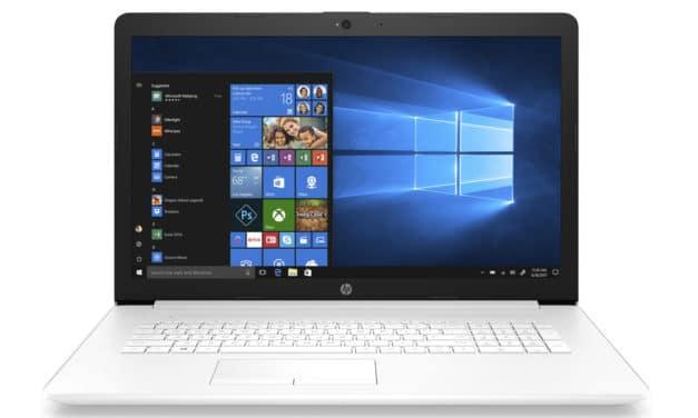 "HP 17-by2007nf, PC portable 17"" blanc rapide gros stockage avec graveur CD/DVD (599€)"
