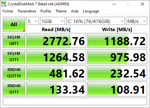 Test HP EliteBook Dragonfly G1 - Performances SSD