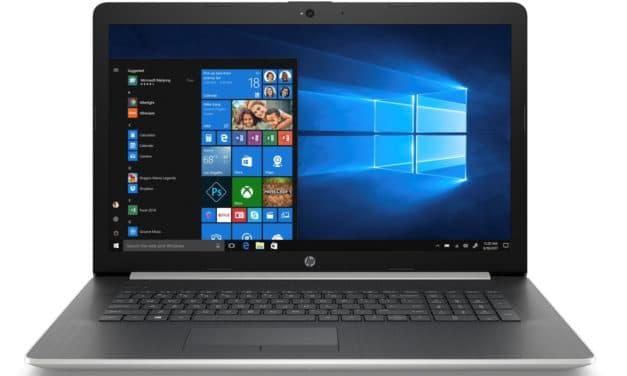 """HP 17-ca1018nf, PC portable 17"""" argent/noir polyvalent rapide avec graveur CD/DVD (549€)"""