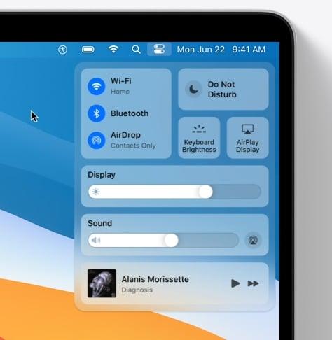 Apple macOS 11 Big Sur Centre Control