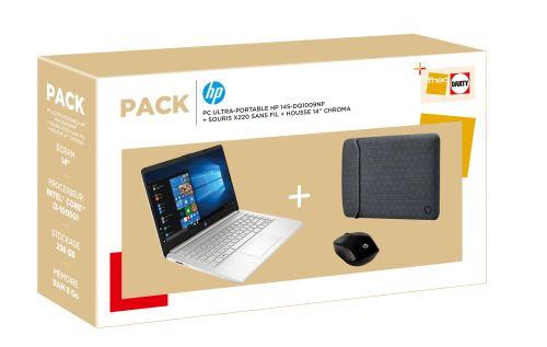 """HP 14s-dq1009nf, Ultrabook 14"""" argent pas cher fin léger rapide + pack souris et housse (449€)"""