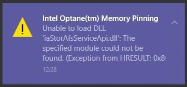 Windows 10 May 2020 Update version 2004 Intel Optane Memory H10