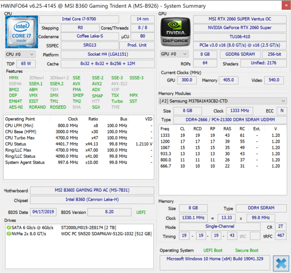 Test MSI Trident A 9SC - Configuration