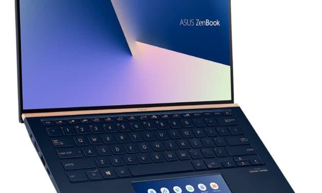 "Asus ZenBook 14 UX434FA-A5408T, Ultrabook 14"" bleu léger fin rapide 10h ScreenPad SSD 1 To (1279€)"