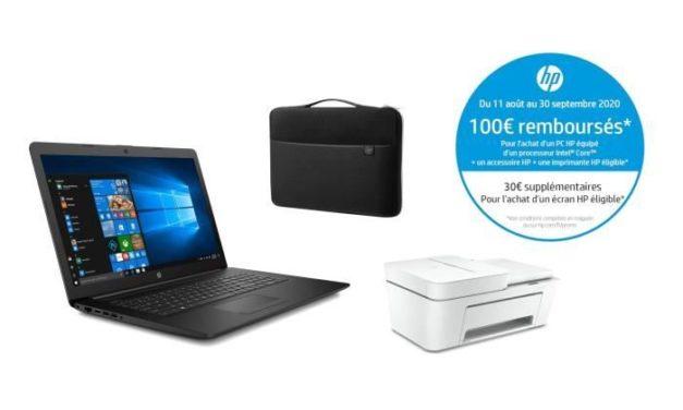 HP 17-by3067nf, PC portable 17 pouces noir avec gros stockage pas cher en pack avec imprimante + sacoche, 100 euros remboursés (559€)