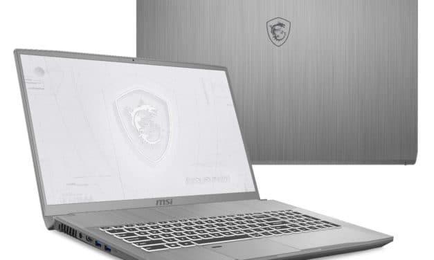 """MSI WF75 10TK-244FR, PC portable 17"""" 144Hz créateur Pro léger Quadro RTX 3000 1.5 To (2189€)"""