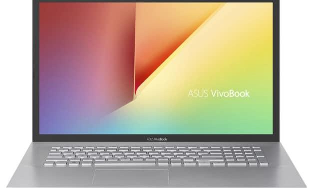 """Asus VivoBook S712FA-BX1054T, PC portable 17"""" argent pas cher léger fin et rapide avec gros stockage (549€)"""