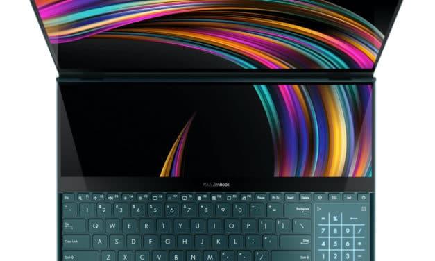 """Asus Zenbook Pro Duo UX581LV-H2002R, PC portable 15"""" 2 écrans polyvalent et puissant RTX OLED 4K (2679€)"""